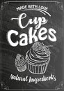 Vintage cakes with cream poster design on chalk board, vector.