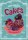 Vintage cakes with cream poster design vector.