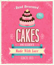 Vintage cakes poster vector illustration Stock Photo
