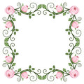 Vintage calligraphic frame with pink roses. Vector