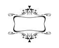 Vintage Calligraphic Square Frame Decorative Floral Border Element with Flourishes