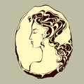 Vintage cameo portrait of a woman in profile Stock Image