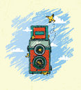 Vintage camera with birds illustration of a in the lens Stock Image