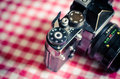 Vintage camera detail of film Royalty Free Stock Images