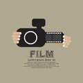 Vintage Camera With Film Strip. Royalty Free Stock Photo