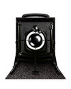 Vintage camera front view Stock Photos
