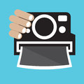 Vintage camera in hand vector illustration Royalty Free Stock Photography