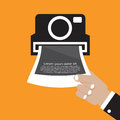 Vintage camera with hand vector illustration Royalty Free Stock Photo