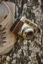 Vintage camera with hiking boots and tree trunk. Travel