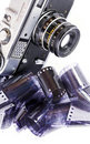 Vintage camera and negative film strips.