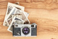 Vintage camera and old photos Royalty Free Stock Photo