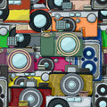 Vintage camera pattern multicolor photo cameras Royalty Free Stock Photos