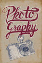 Vintage camera poster with hand drawn elements and grungy background Royalty Free Stock Photography