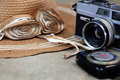 Vintage camera still life with romantic Royalty Free Stock Photos