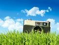 Vintage camera in tall grass Royalty Free Stock Photos