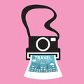 Vintage camera travel concept vector illustration Royalty Free Stock Images