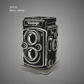 Vintage camera vector illustration. Antique photo equipment icon Royalty Free Stock Photo