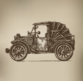 Vintage car authors illustration in vector Stock Photos