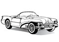 Vintage car cabriolet roofless, sketch, coloring book, black and white drawing, monochrome. Retro cartoon transport. Vector