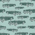 Vintage car cabriolet seamless pattern, retro cartoon background, monochrome. For the design of wallpaper, wrapper, fabric. Vector