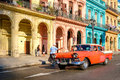 Vintage car and colorful buildings in Old Havana Royalty Free Stock Photo