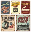 Vintage car metal signs and posters Royalty Free Stock Photo