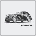 Vintage car. Retro car. Classic car emblem.