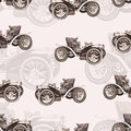 Vintage car seamless pattern, old retro drawing machine, cartoon vector background, monochrome. Illustration in style sepia. For