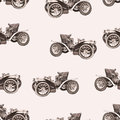Vintage car seamless pattern, old retro drawing machine, cartoon vector background, monochrome. Illustration in style sepia. For t Royalty Free Stock Photo