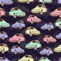 Vintage car seamless pattern, retro cartoon background. Multicolored cars on the beige . For the design of wallpaper, wrapper, fab