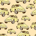 Vintage car seamless pattern, retro cartoon background. Yellow cars on the beige . For the design of wallpaper, wrapper, fabric.