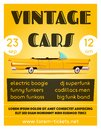 Vintage car show banner. Old auto. Cartoon vector illustration Royalty Free Stock Photo
