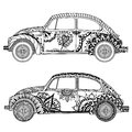 Vintage car in Tangle Patterns style Royalty Free Stock Photo