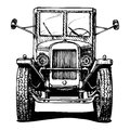 Vintage car vector retro isolated on white black and white illustration Royalty Free Stock Photos