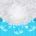 Vintage card with blue bows silver gray and ornate background Royalty Free Stock Photo