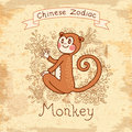 Vintage card with chinese zodiac monkey vector illustration eps Royalty Free Stock Images