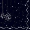 Vintage card with Christmas-tree balls on the dark blue background. Starry sky. Royalty Free Stock Photo