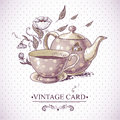 Vintage Card with Cup, Pot, Flowers and Butterfly Royalty Free Stock Photo