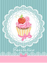 Vintage card with cupcake Stock Photo
