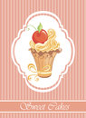 Vintage card with cupcake Royalty Free Stock Images