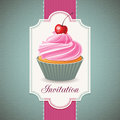 Vintage card with cupcake design and artistic background Royalty Free Stock Image