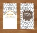 Vintage card design for greeting card, invitation,banner. Set of Retro eastern background.