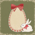 Vintage card with easter bunny and egg form funny cartoon on dotted background vector illustration Stock Image