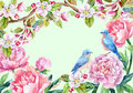 Vintage card with flowers and birds. Spring background