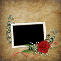 Vintage card for the holiday with red rose Stock Photography