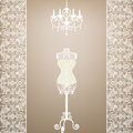 Vintage card mannequin chandelier lace border Royalty Free Stock Images