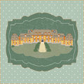Vintage card with old castle vector illustration Stock Images