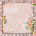 Vintage card and pink mallow Royalty Free Stock Photos