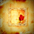 Vintage card romantic music red rosebud lace frame and background score Royalty Free Stock Photos