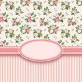 Vintage card with roses and stripes pink rose buds Royalty Free Stock Photography